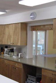 kitchen cabinets and recycled countertops